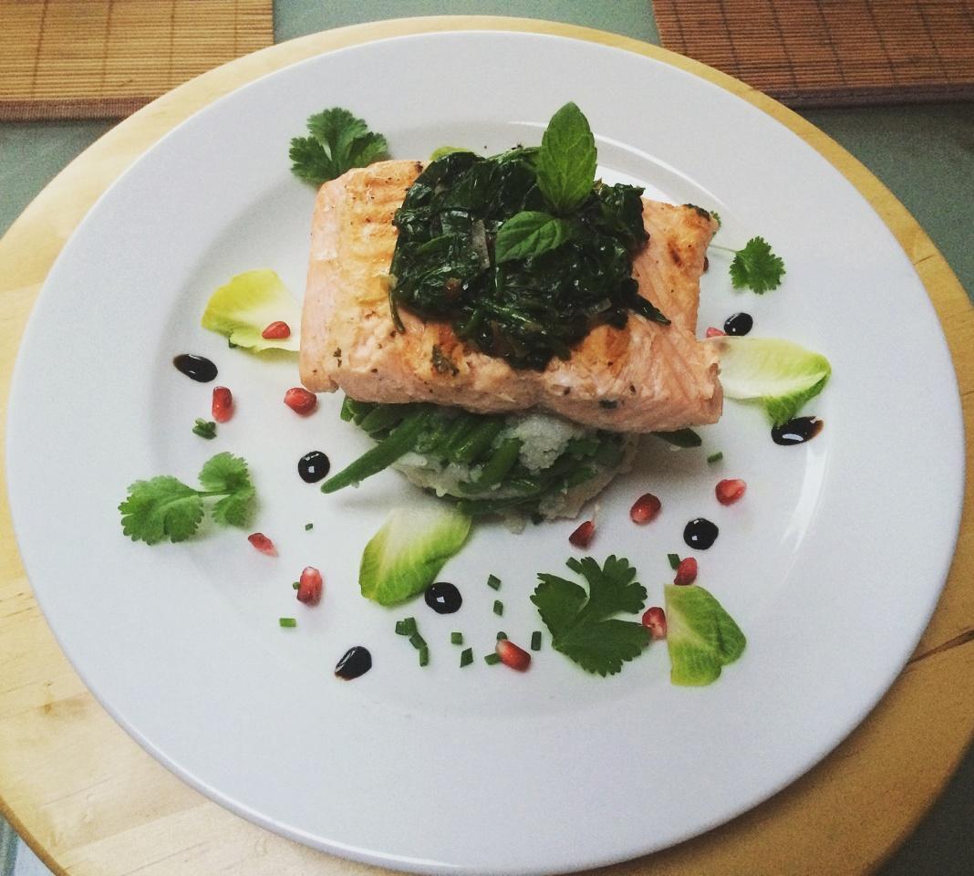 Salmon, ryba, fasolka szparagowa