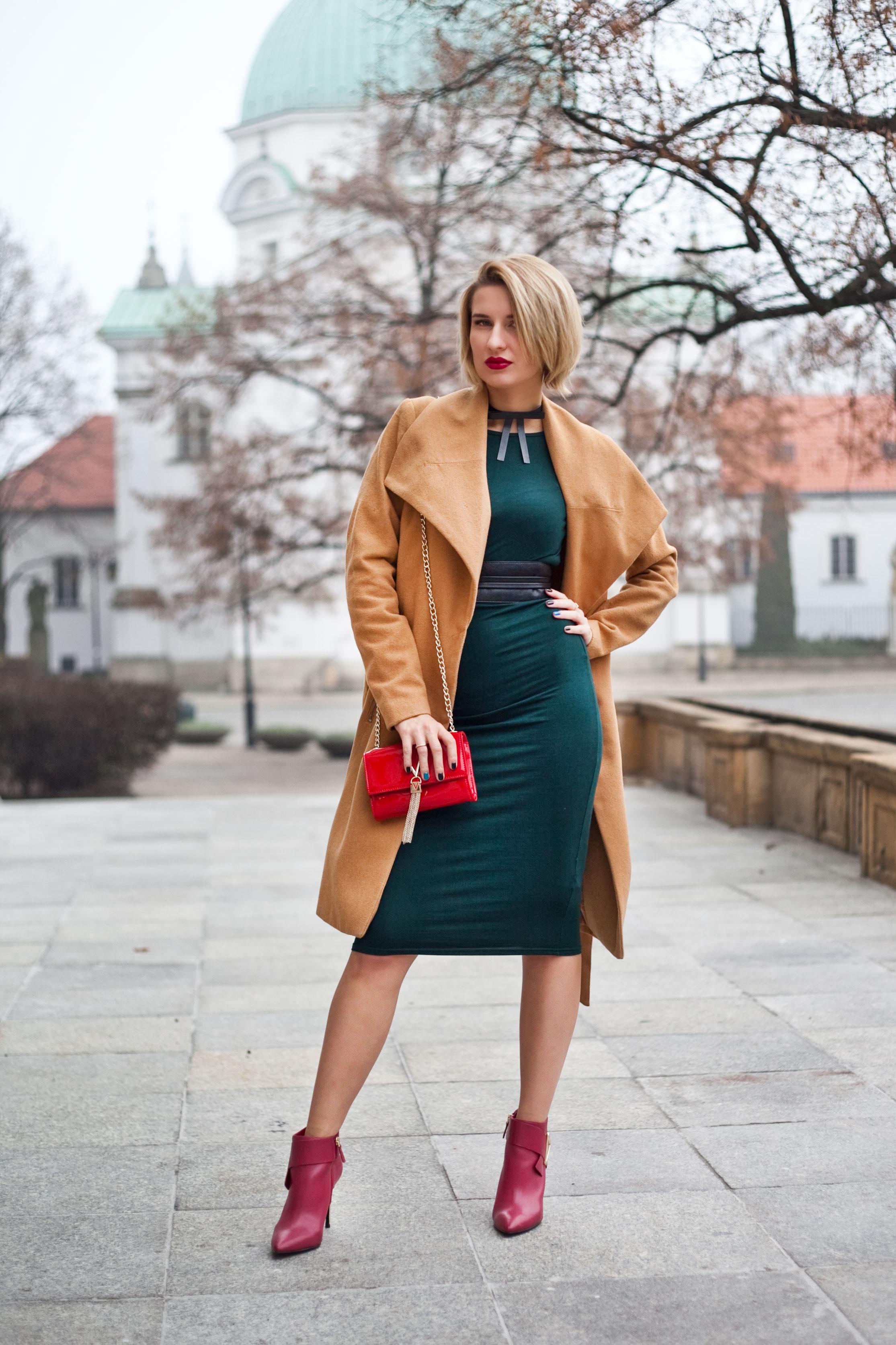 zielona midi sukienka topshop